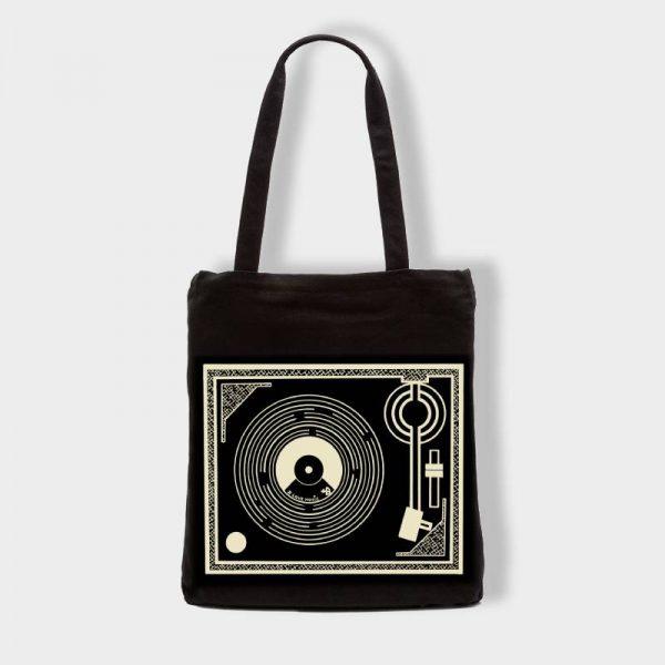 Bolsas Bolsa de tela «Tocadiscos» en color negro