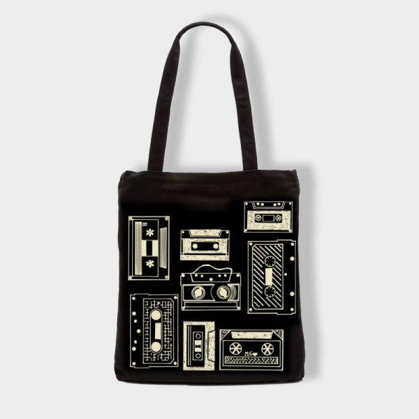 Bolsas Bolsa de tela «Cassettes» en color negro
